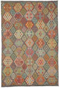 Kilim Afghan Old Style Rug 198X298 Authentic  Oriental Handwoven Dark Brown/Dark Green (Wool, Afghanistan)