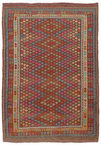 Kilim Afghan Old Style Rug 215X304 Authentic  Oriental Handwoven Dark Brown/Dark Green (Wool, Afghanistan)